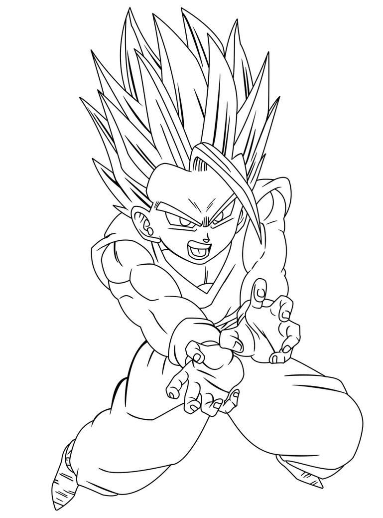 Super Saiyan 2 Gohan Kleurplaten Fan Art Coloriage Dragon ...