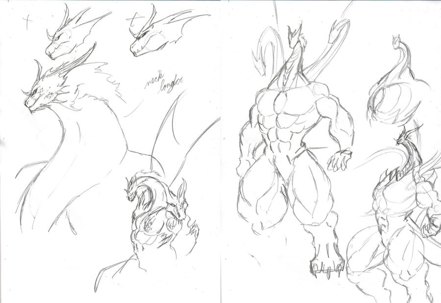 King Ghidorah Sketches by SpottedAlienMonster on DeviantArt