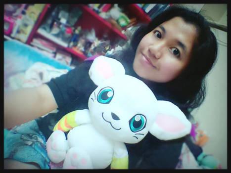 ~Selfie of Big Tailmon plush and Me~