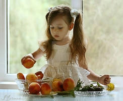 Girl with peaches....