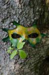 Yellow and Green Oak Leaf Mask