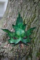 Green Sugar Maple Leaf Mask by OsborneArts