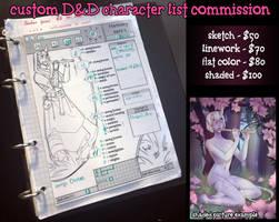 DnD custom character list - 2 slots