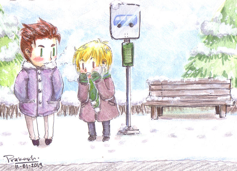 Erd and Leon - in the snow by CatSummoner