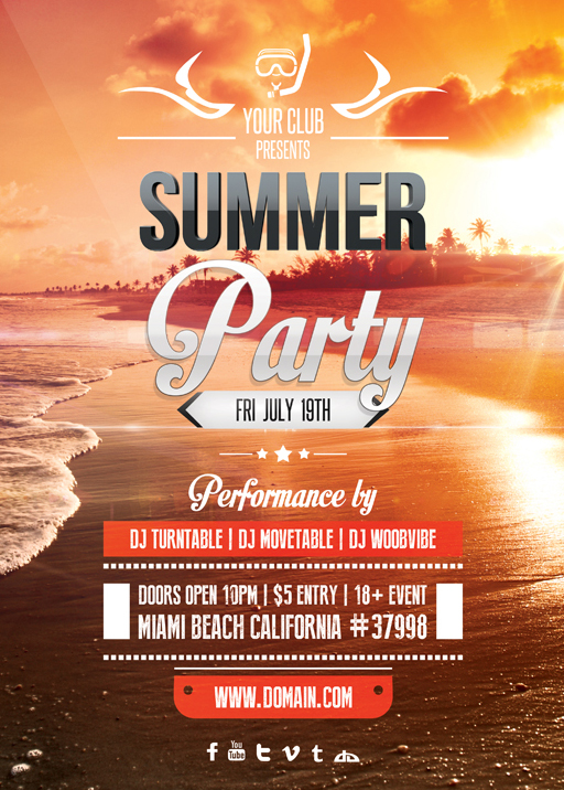 Summer Party Flyer Template By Vectormediagr On Deviantart