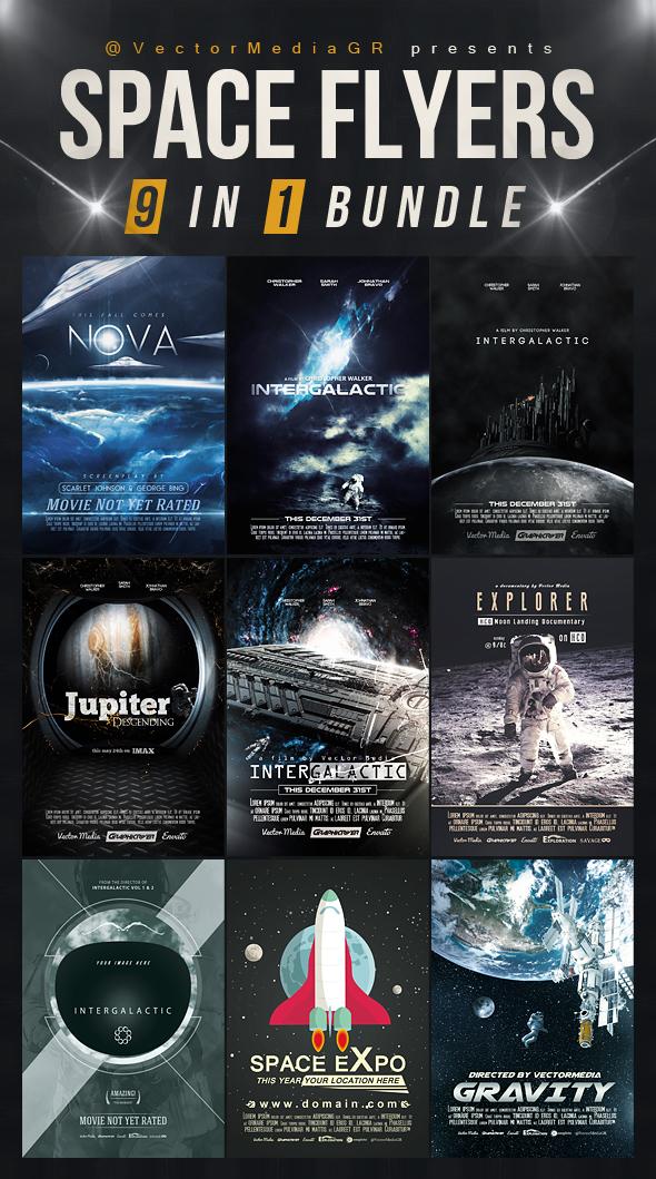 Space - Flyers / Posters [Bundle] (9 in 1) by VectorMediaGR