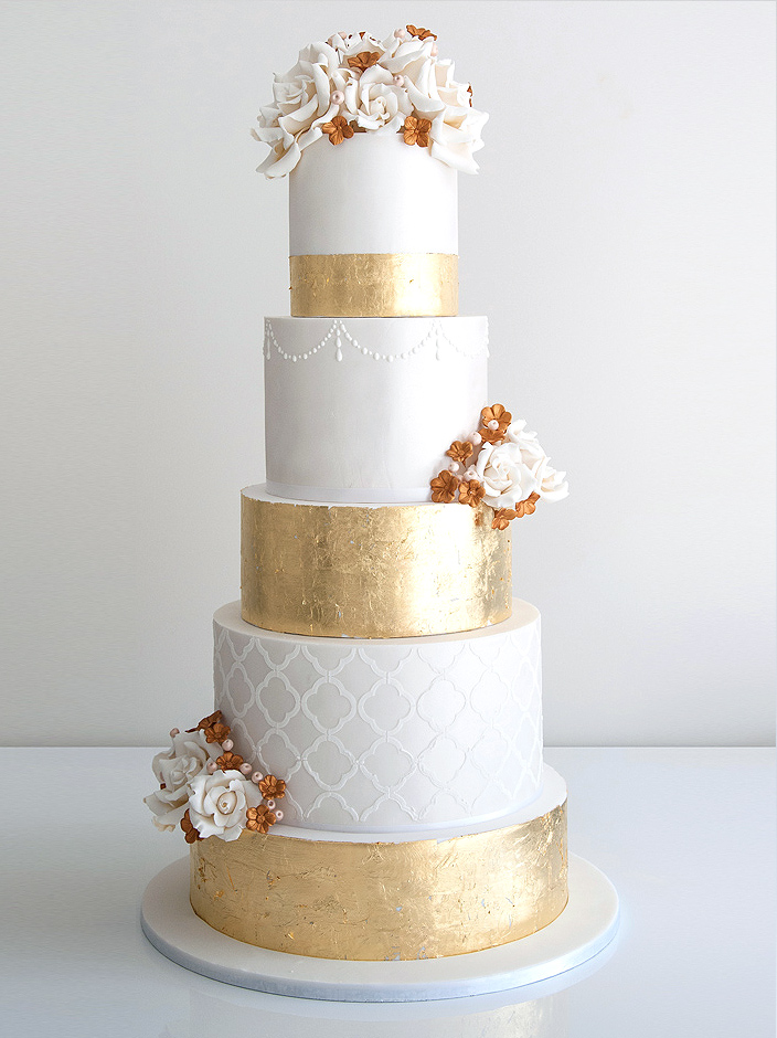 Gold Wedding Cake by cococakes