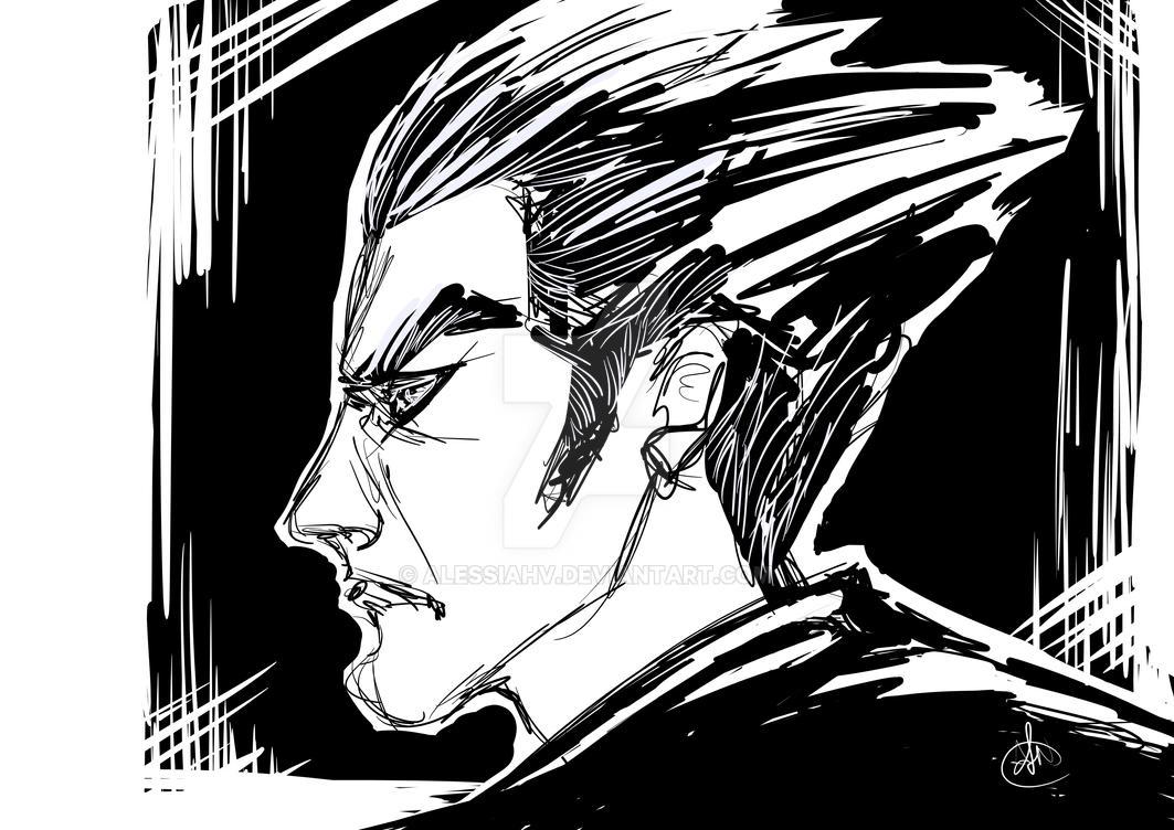 Kazuya Mishima sketchy fan art by AlessiaHV