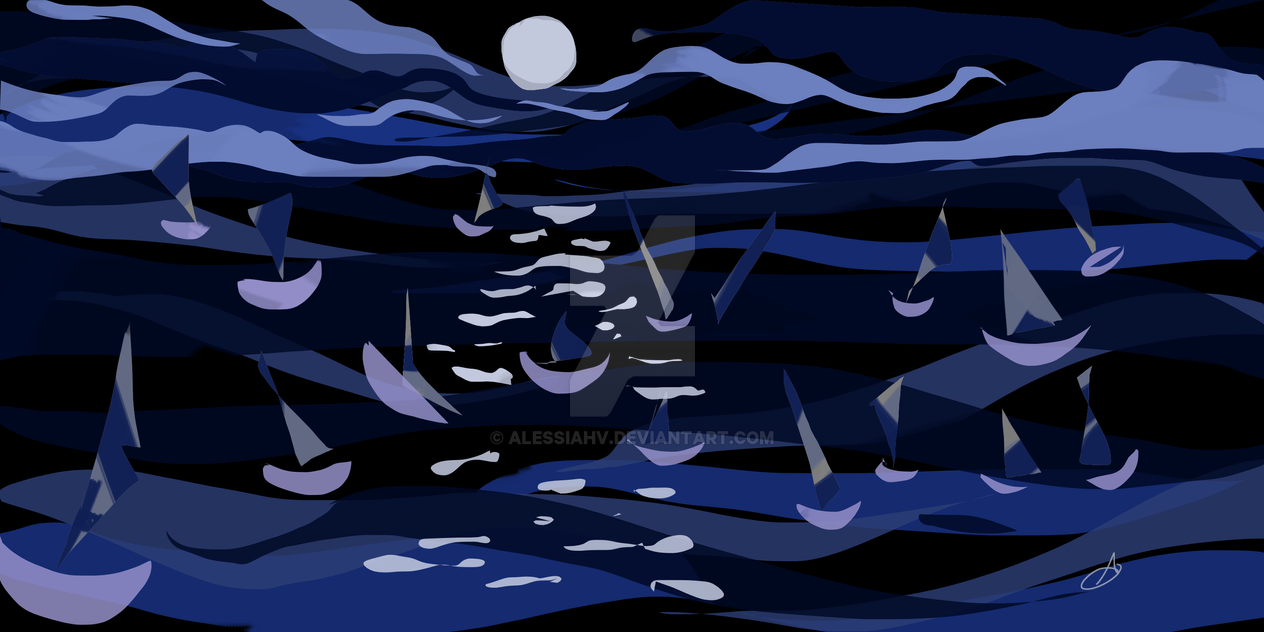 Moon and Sea by AlessiaHV
