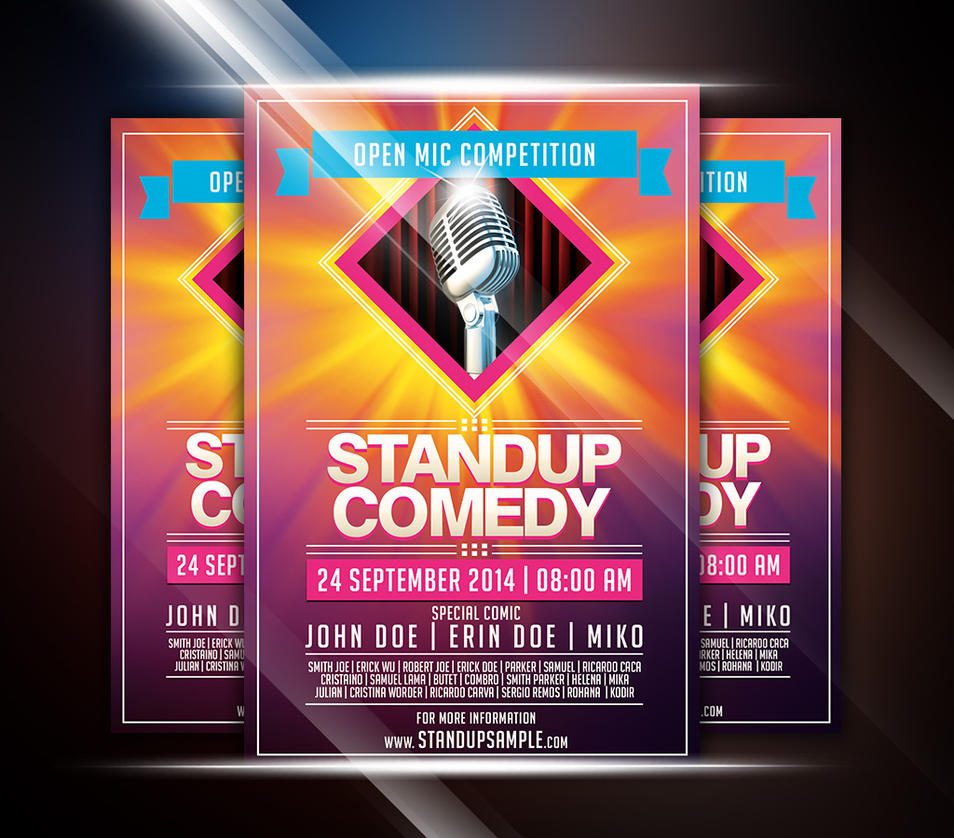 colorful standup comedy event flyer by afizs on deviantart