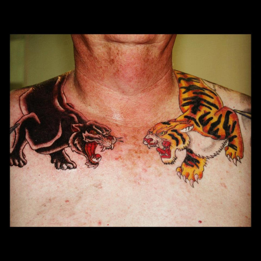 Tiger and panther by 0ohalfjacko0 on deviantart for Panther tiger tattoo
