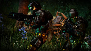 'UNSC Commandos Prowl Through a Jungle' by Slim-Charles