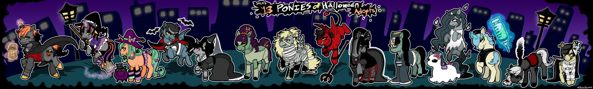 13 Ponies of Halloween Adoptables [01/14 OPEN] by azume-adopts