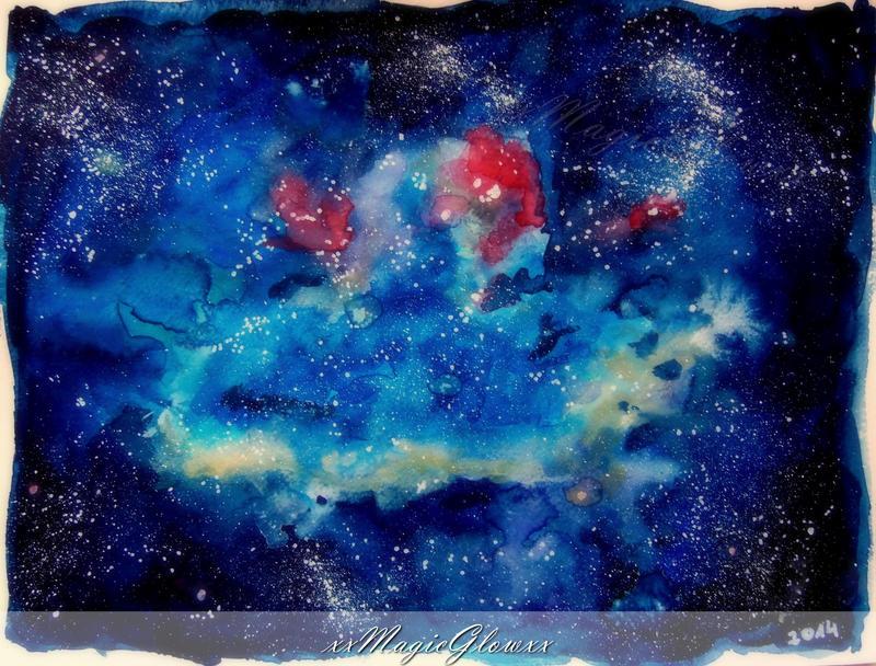my small galaxy -watercolor- by xxMagicGlowxx