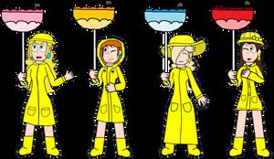 Request-Rain Mario Girls with Inverted Parasols