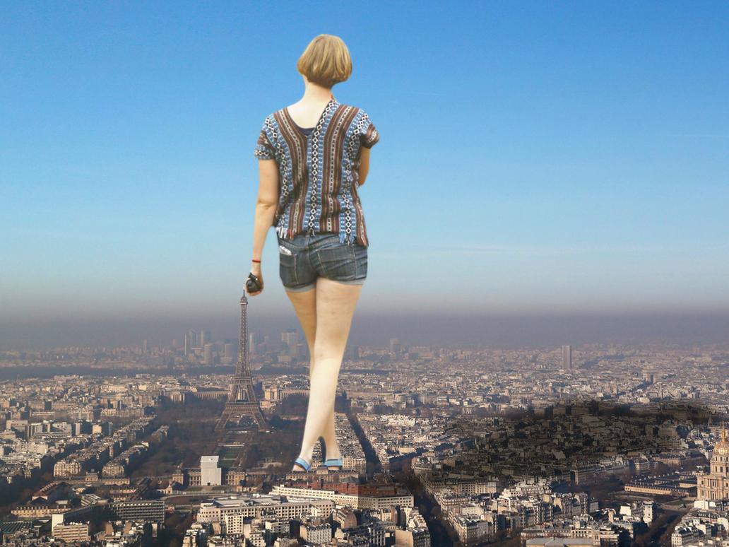 Giantess Ellie Strolls in Paris by dochamps