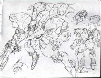 Robo Dojo Enemy Mecha Design 1 by glane21