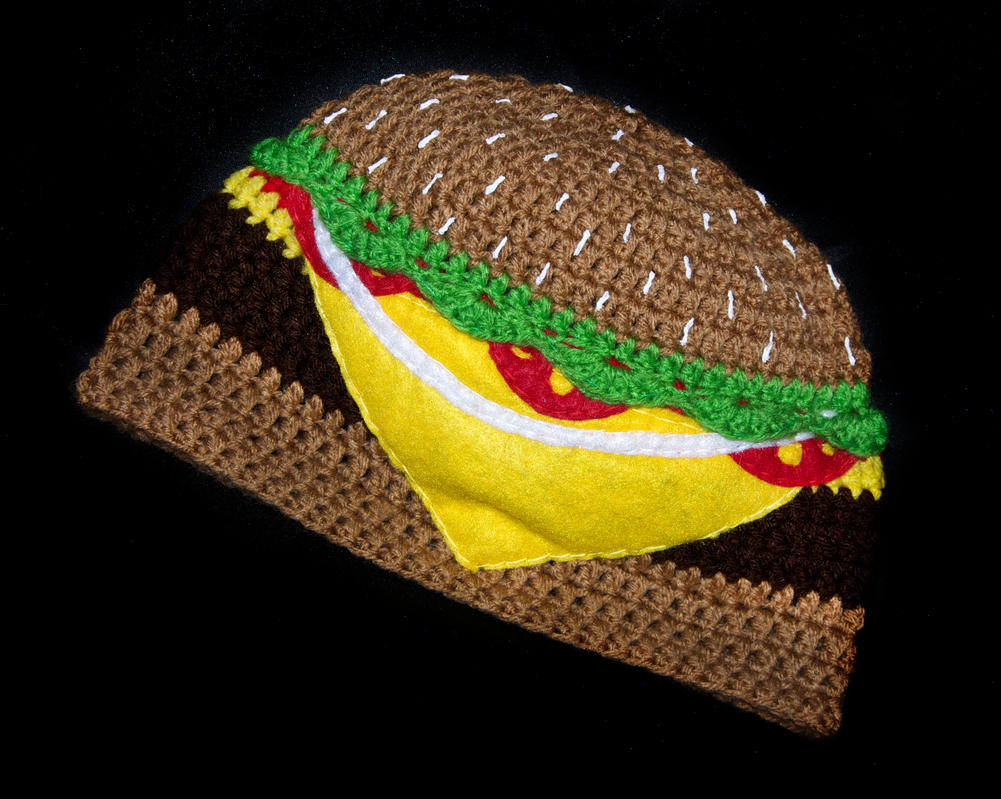 Cheeseburger Beanie by rainbowdreamfactory