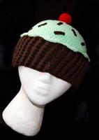 Mint Chocolate Crochet Cupcake Beanie by rainbowdreamfactory