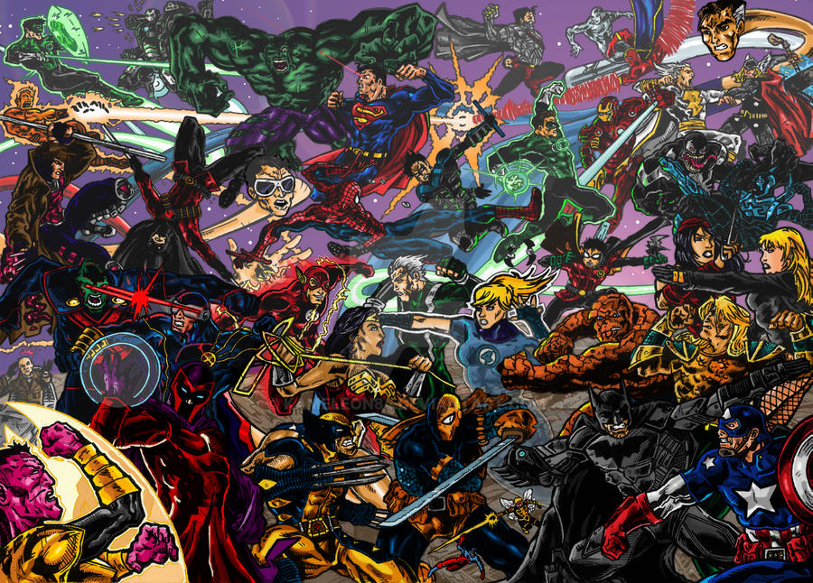 Marvel Vs DC Coloured By Kameleon84
