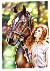 Portrait of horse and owner by 24Pamela