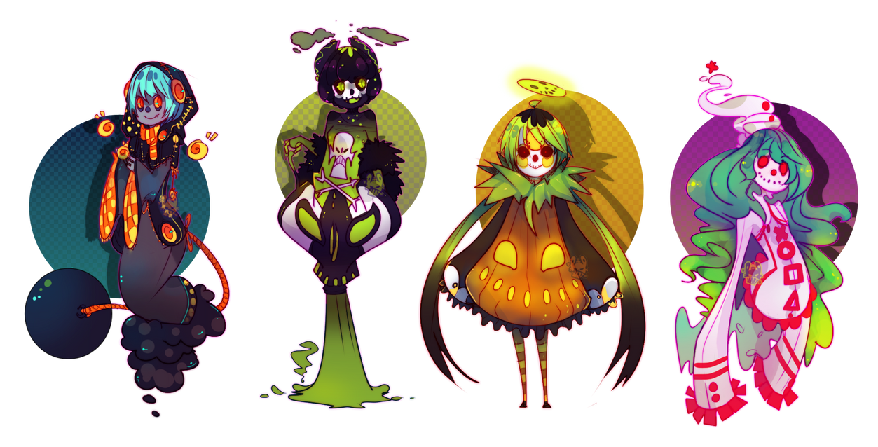 Halloween Adoptables [1] by WoeAdopts