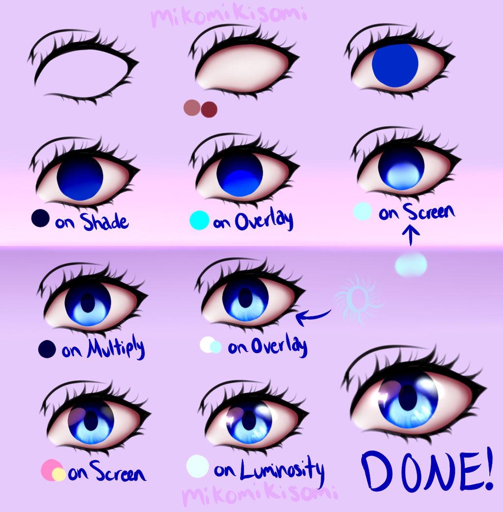 Step-by-Step Anime Eye Tutorial by MikomiKisomi on DeviantArt