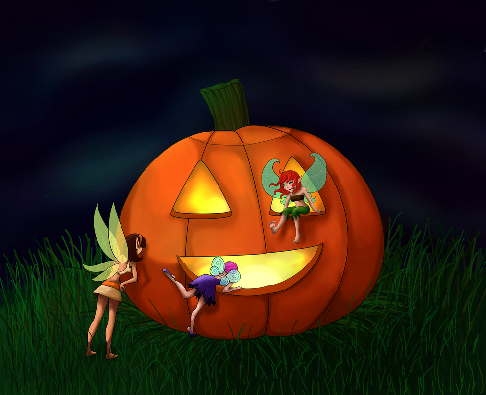 Pumpkin Fairies by silent-ebb