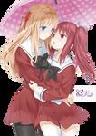 Nanami and Yuuna Render [Yuri]