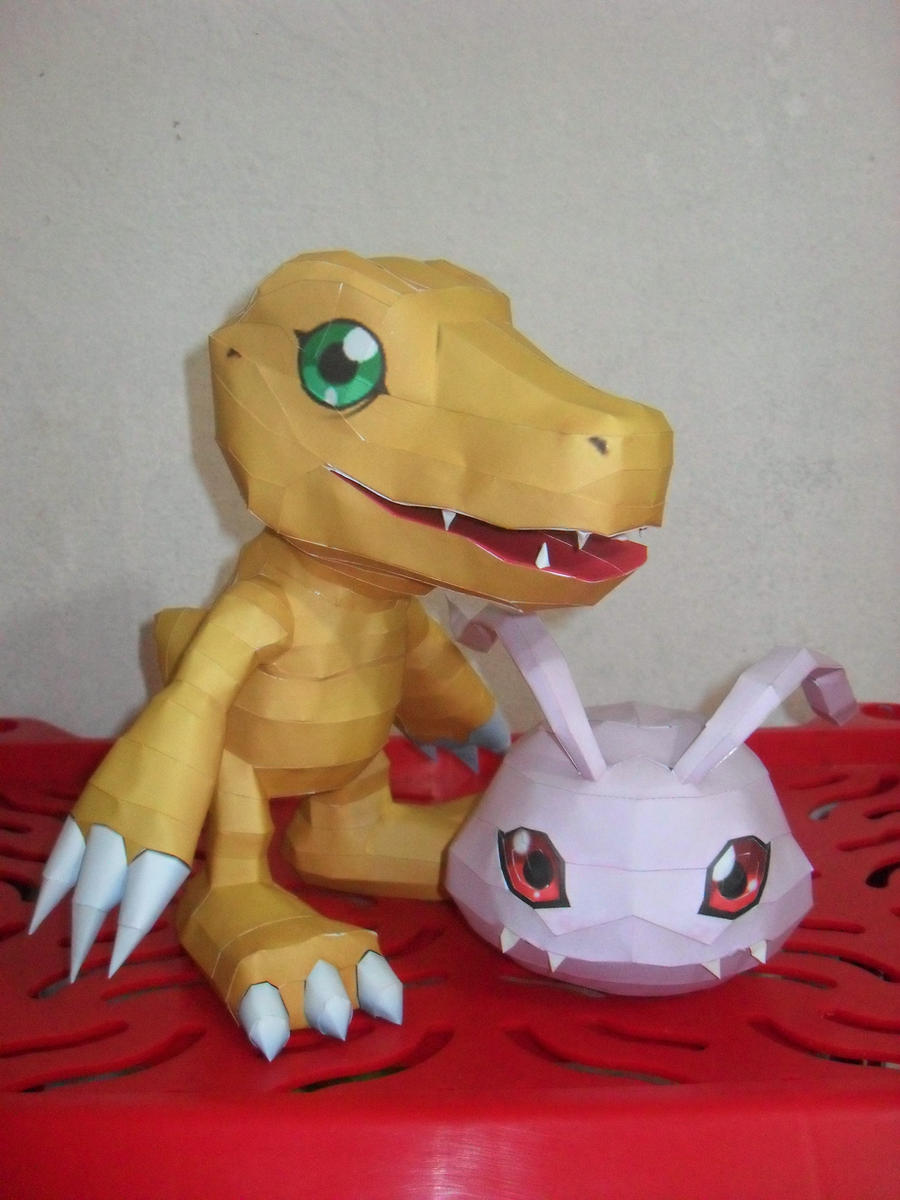Agumon e Koromon Papercraft by MichelCFK