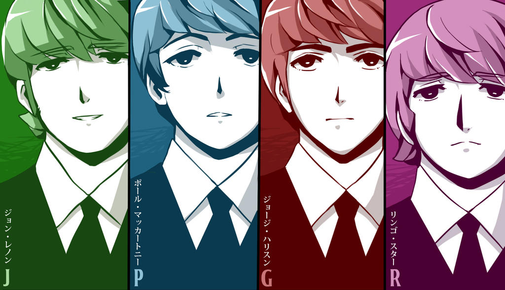 .: Colored Manga Fab Four :. by PepperMoonFlakes