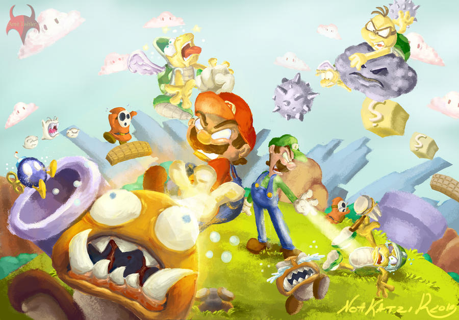 Super Mario Brothers Fan Art by kodinkenji