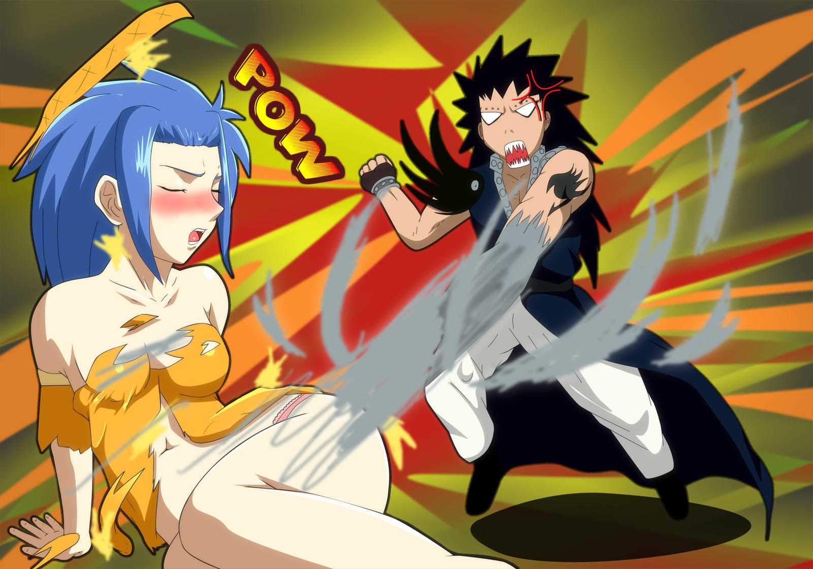 Fairy Tail Gajeel Levy Requested threatningroar by ...