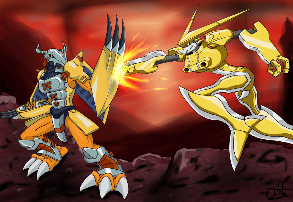 wargreymon vs omegashoutmon by gigakunskap on deviantart