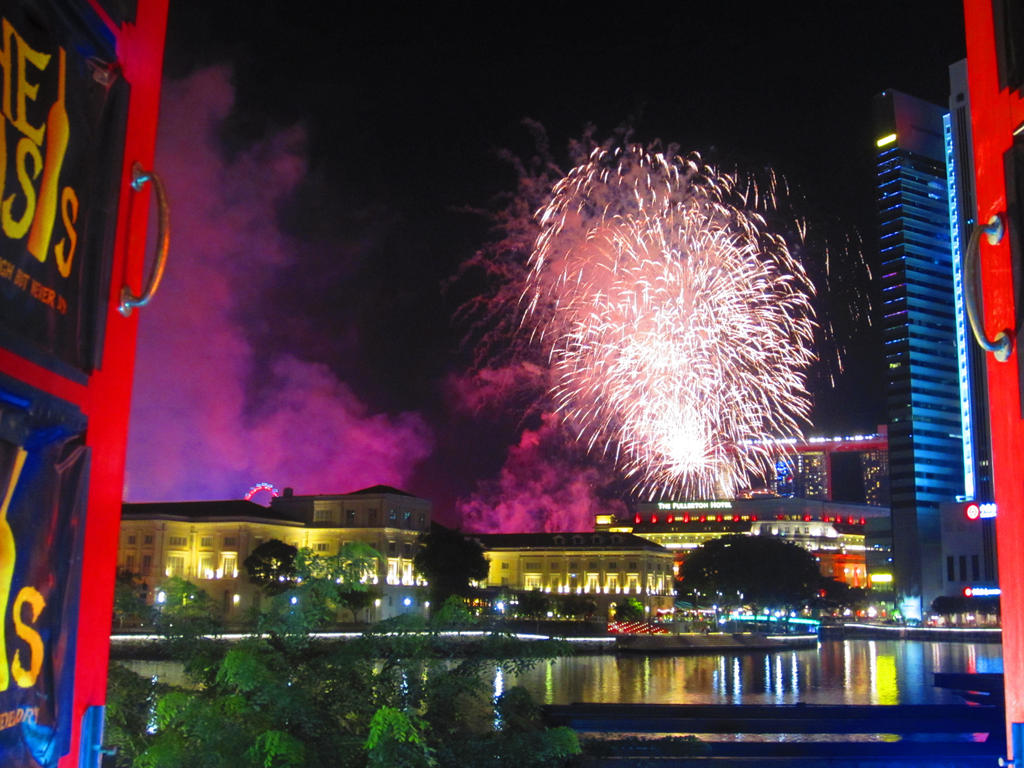Singapore National Day Fireworks from Boat Quay