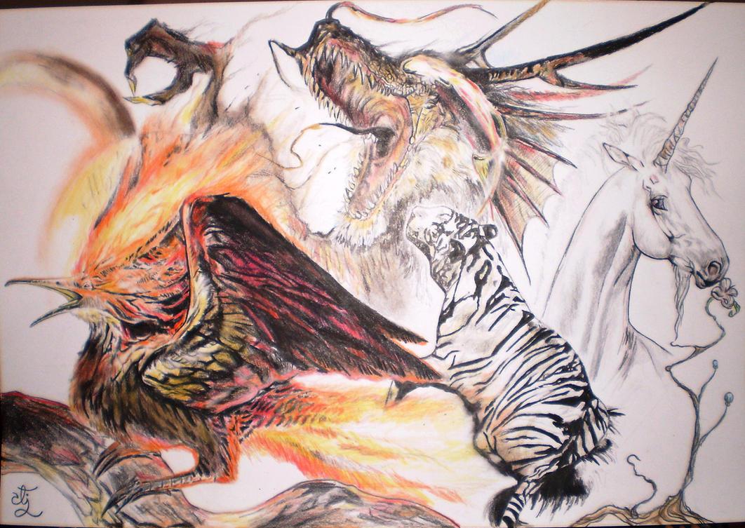 Phoenix, Tiger, Unicorn, Dragon by RoleForge