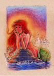 Ariel sunset moment