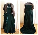 Sansa Stark Season 6 Teal Direwolf Velvet Gown