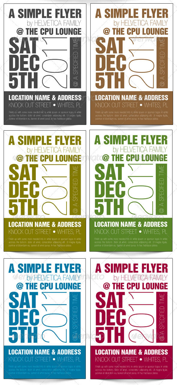 Helvetica One Color 4x6 Flyer Template By Godserv On Deviantart