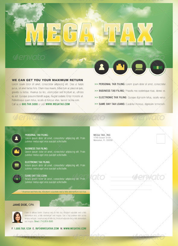 Mega Tax Flyer and Postcard Photoshop Template by Godserv on ...