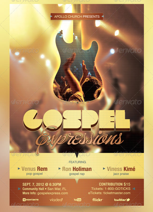 gospel expressions flyer ticket and cd template by godserv