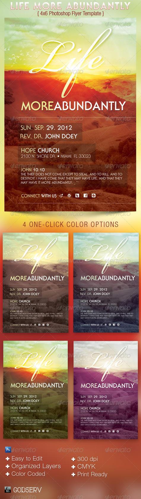 flyertemplates godserv 3 0 life more abundantly 4x6 church flyer