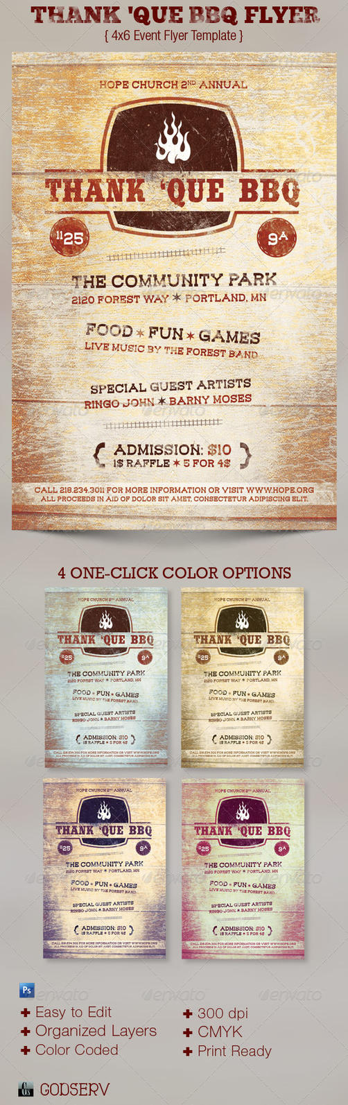 Thank que western bbq charity flyer template by godserv on for Bbq tickets template