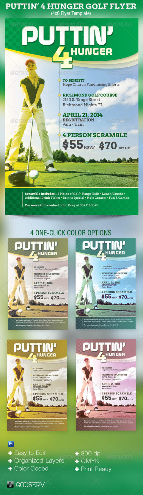 puttin 4 hunger charity golf flyer template by godserv on deviantart. Black Bedroom Furniture Sets. Home Design Ideas