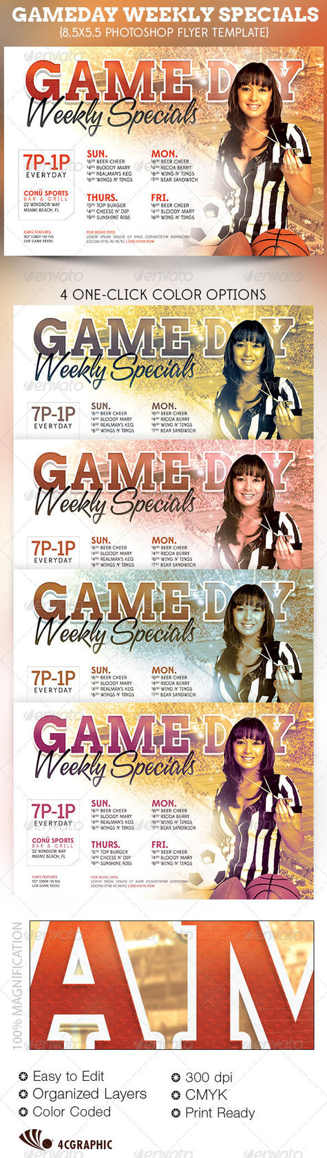 game day specials flyer template by godserv on deviantart. Black Bedroom Furniture Sets. Home Design Ideas