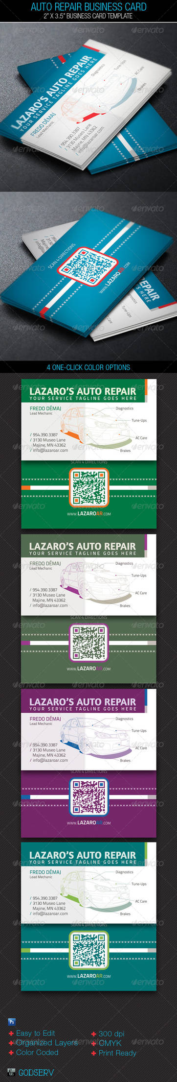 Auto Repair Service Business Card Template by Godserv