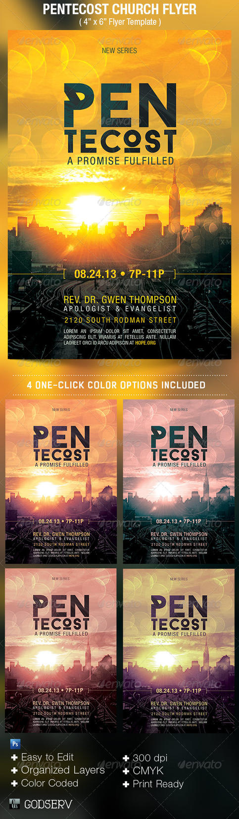 pentecost church flyer template by godserv on deviantart. Black Bedroom Furniture Sets. Home Design Ideas