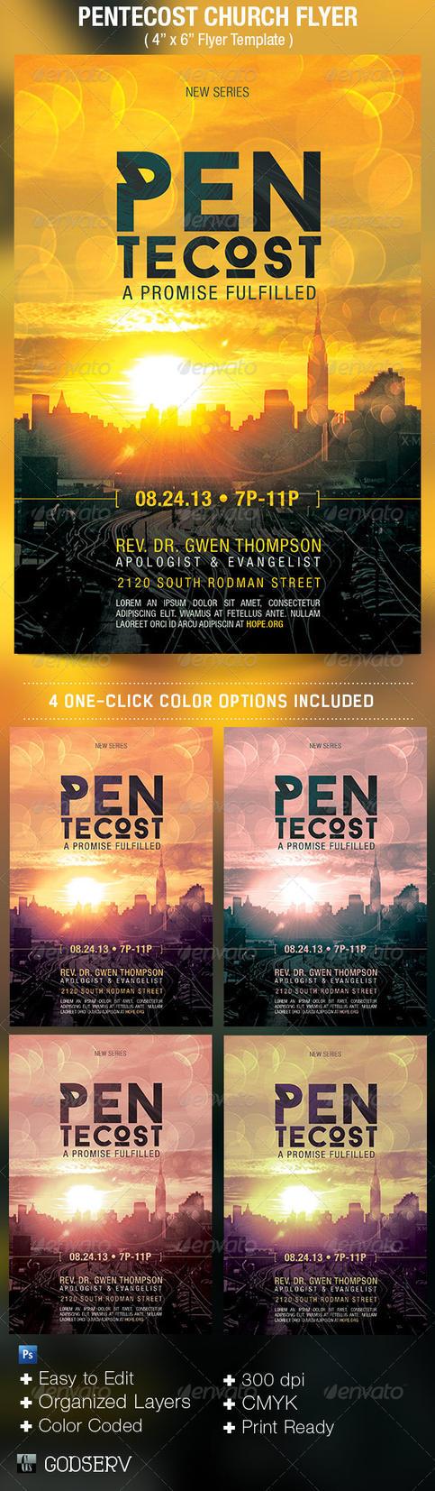 pentecost church flyer template by godserv on deviantart. Black Bedroom Furniture Sets. Home Design Ideas
