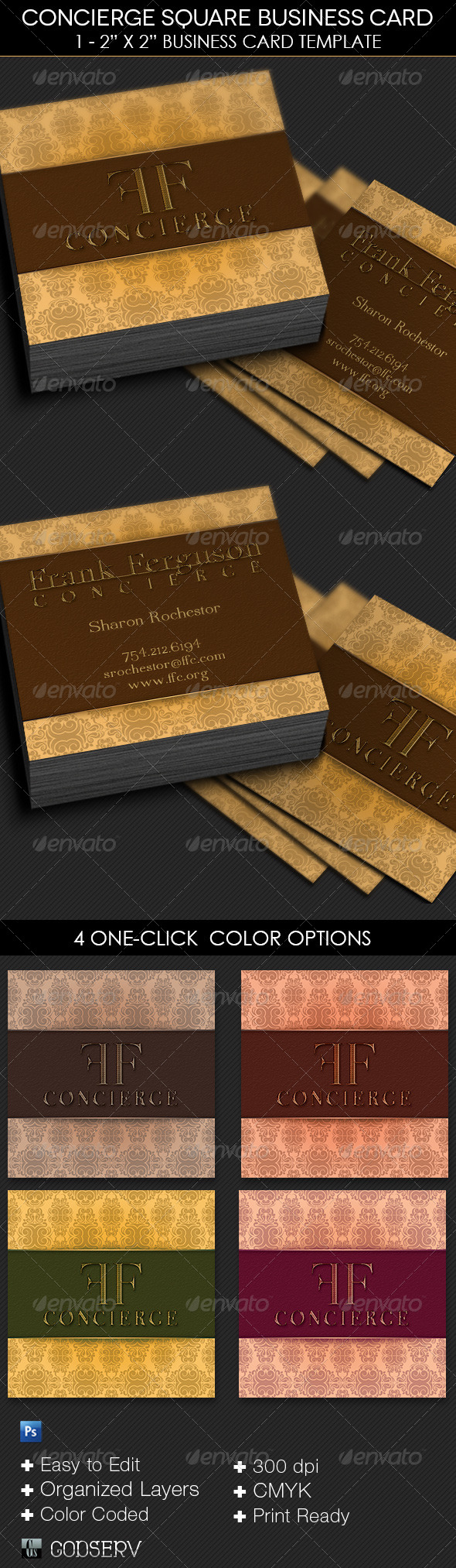 concierge square business card template by godserv on deviantart. Black Bedroom Furniture Sets. Home Design Ideas