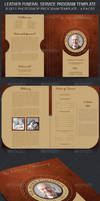 Leather Style Funeral Service Program Template